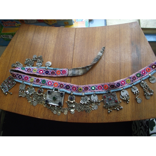 4 - Original Turkish belly dancer's belt with some possibly early silver/silver plate? jewelled cabochon...