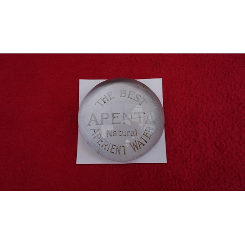 10 - Good quality Vintage Apenta Aperient natural water heavy glass paperweight in excellent condition....