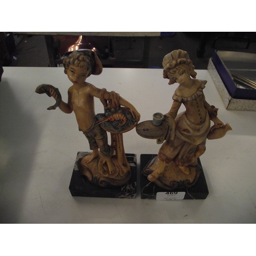 15 - 2 Good quality figures on marble plinths...