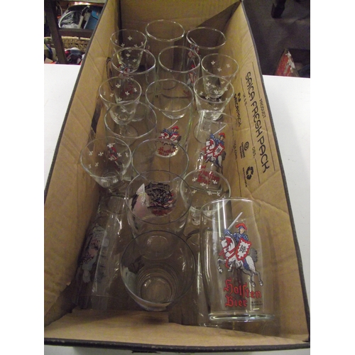 16 - Collection of advertising glasses...