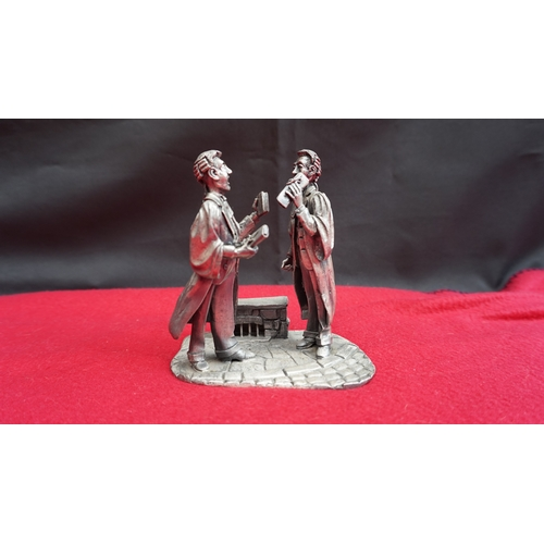 19 - Signed John Ball Legal professions heavy Pewter statue of 2 Lawyers. approx 7 inches....