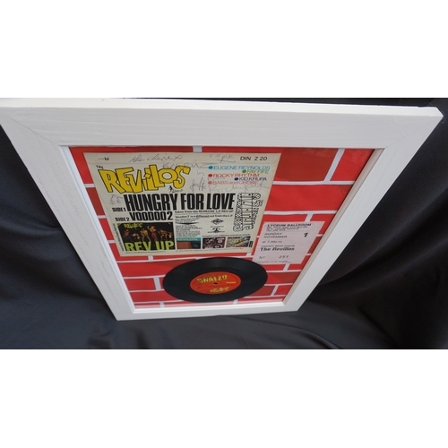 23 - Punk rock Original hand signed by band Revillos Hungry for love cover and vinyl singe framed....