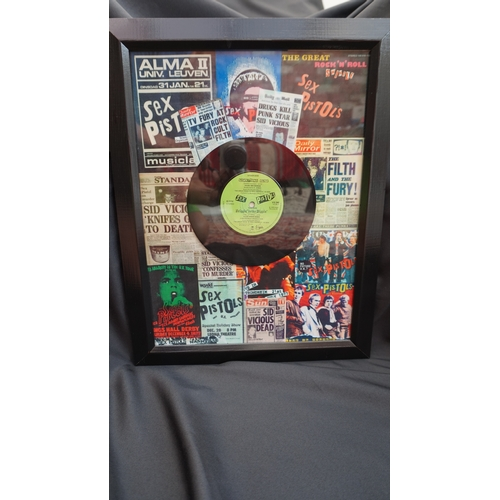 25 - Punk rock Original Sex Pistols vinyl single Something Else in framed montage. 1979....
