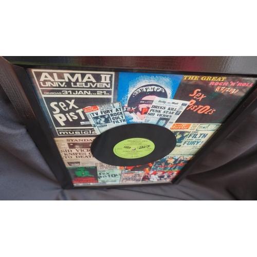 25 - Punk rock Original Sex Pistols vinyl single Something Else in framed montage. 1979....