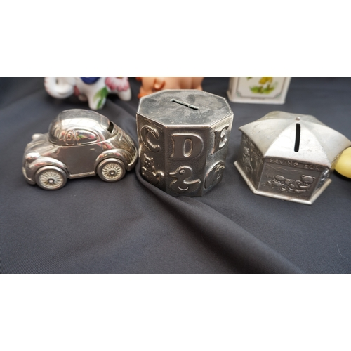26 - Collection of Rare Tomy Automatone flip up Money box + Pewter, metal VW, ceramic pig ect....