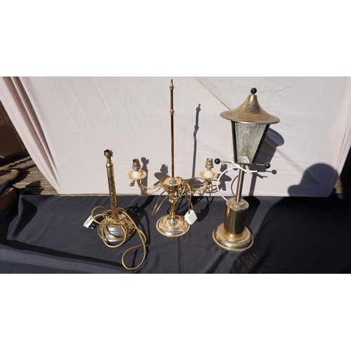 33 - Vintage brass lampost lamp + 2 other vintage brass table lamps....