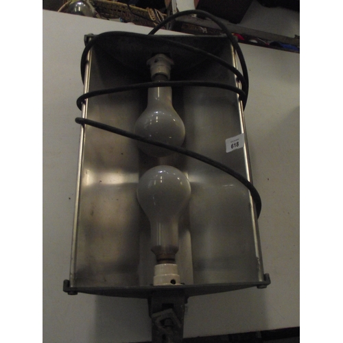 38 - Wall mounted chrome two bulb industrial light fiting...
