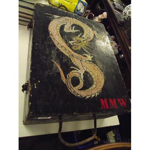 1 - Hand painted wooden storage box...
