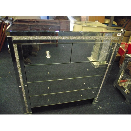 1 - Impressive 2 over 3 mirrored set of drawers with Crystal Handles- (handles in drawer) as new...