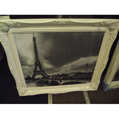 5 - White framed Paris print...