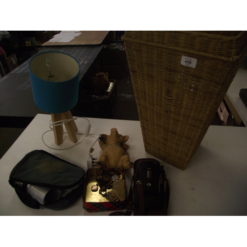 15 - Basket of assorted camera , medals etc...