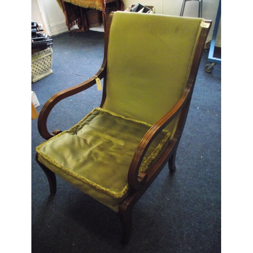 22 - Chapmans of Newcastle upholstered mahogany open arm chair...