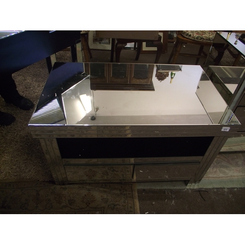 35 - Mirroed glass tv stand...