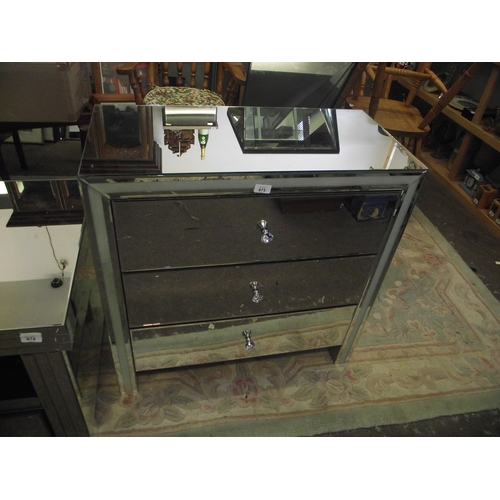 36 - Mirrored glass 3 Drawer chest...