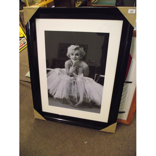 26 - Maryln Monroe Black gloss frame picture approx. 28 x 36 inches....