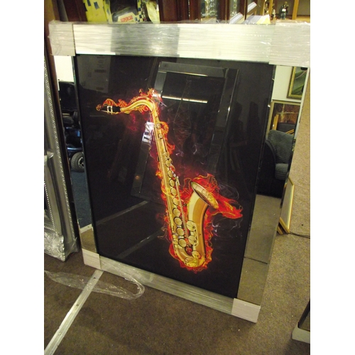 27 - 30 x 38inches Mirrored Saxophone picture....