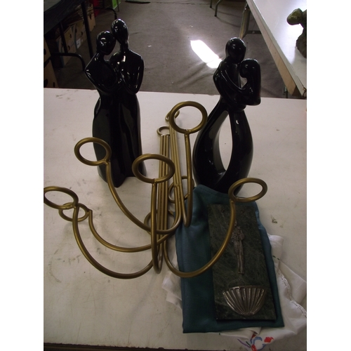 5 - 2 modern statues + wall mounted candle/lamp holders ect....