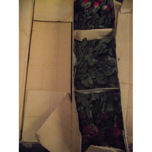 14 - 2 boxes of new old stock red artificial roses....