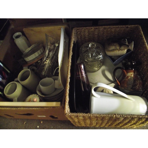 41 - box and basket of ceramics...