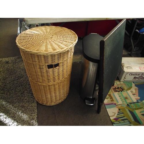 9 - Bin, card table and 2 linen baskets....