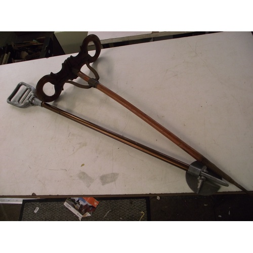12 - Vintage wooden shooting stick and 1 other...