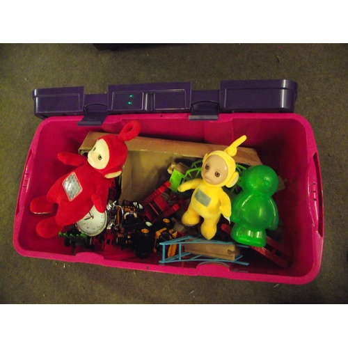 26 - Storage crate of assorted toys...