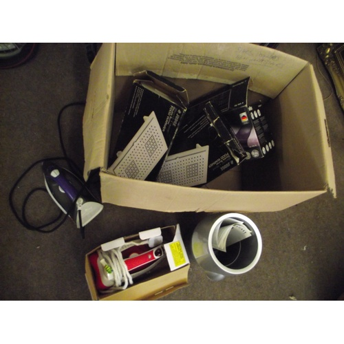 51 - Box of assorted irons, food warmers etc...
