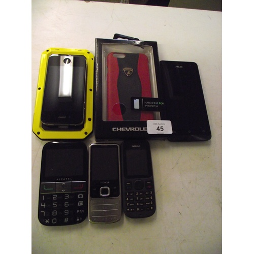 45 - IPhone,Asus phone + others and hardshell cases....