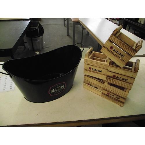 27 - Metal Bellaire ice bucket + Bacardi bottle cases....