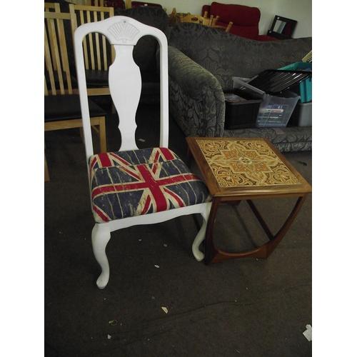 28 - Union Jack chair + retro tile top table....