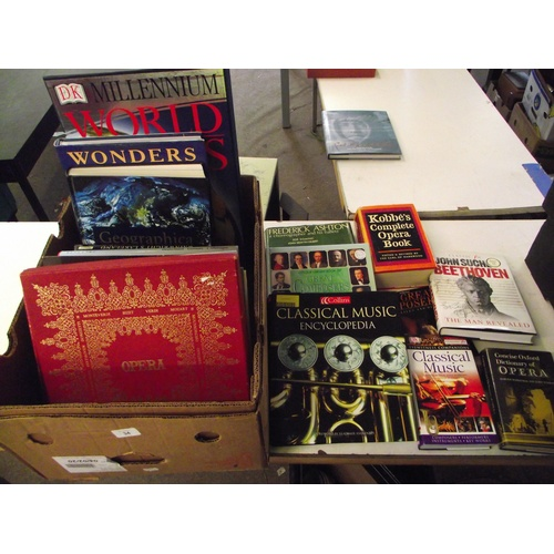 34 - Box of vintage books on music,world + vinyl classical records....