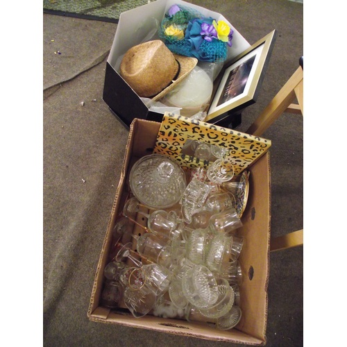 42 - 2 boxes Crystal glass, ladies hats, Prints ect....