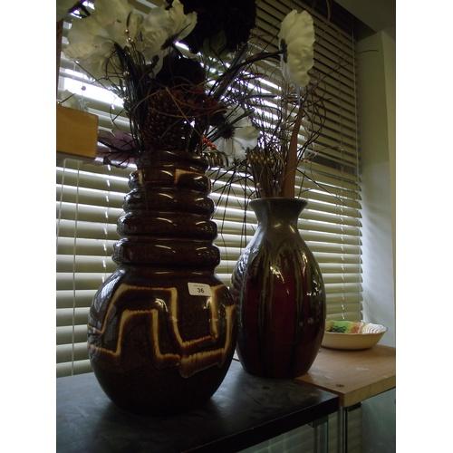 36 - 2 German vases + studio vases and contents....