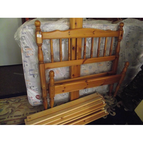 13 - Single pine bed and mattress....