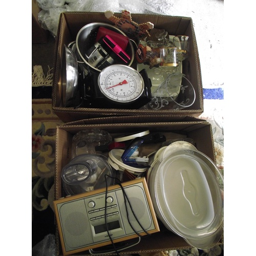 19 - 2 good boxes of kitchenware, electrics ect....