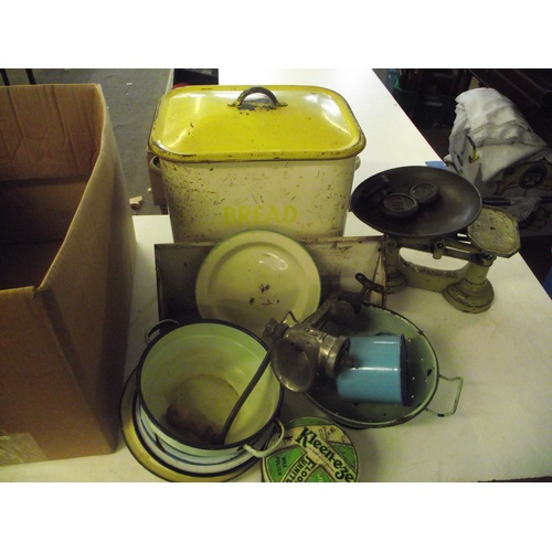 33 - Box of enamel ware, scales and weights etc...