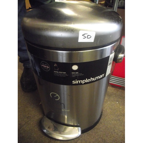 50 - Simple human stainless steel pedal bin....