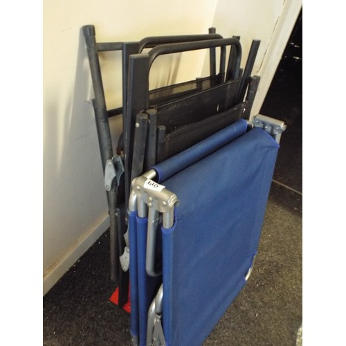 28 - 3 folding chair plus folding camp bed...
