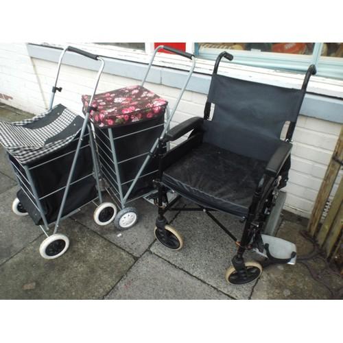 16 - Wheelchair and 2 shopping trollies...
