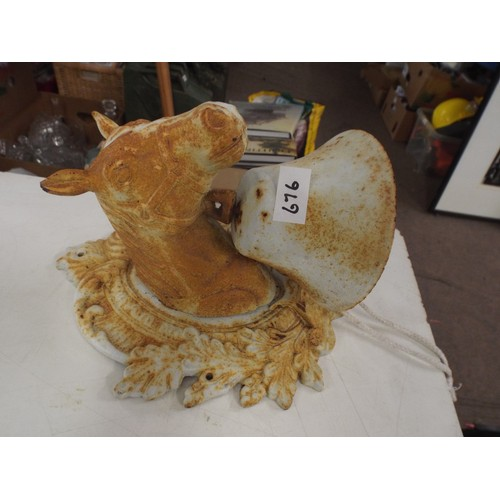 22 - Unusual Vintage French cast iron horse bell....
