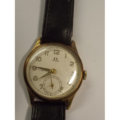 38 - Vintage 9ct gold Omega watch with subsiduary dial .In original box.In working order...
