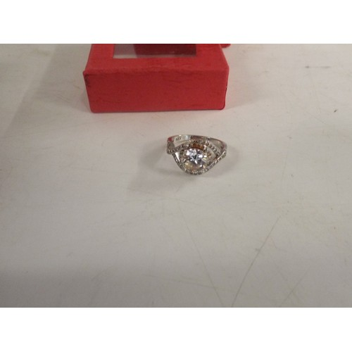 49 - 925 silver cz ring size m...