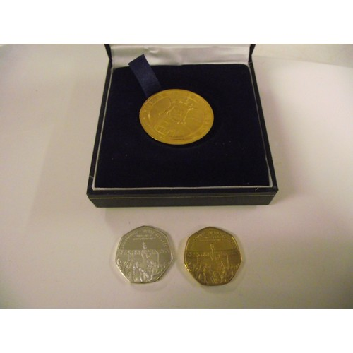 41 - yellow and white metal 1966 world cup coins plus other...