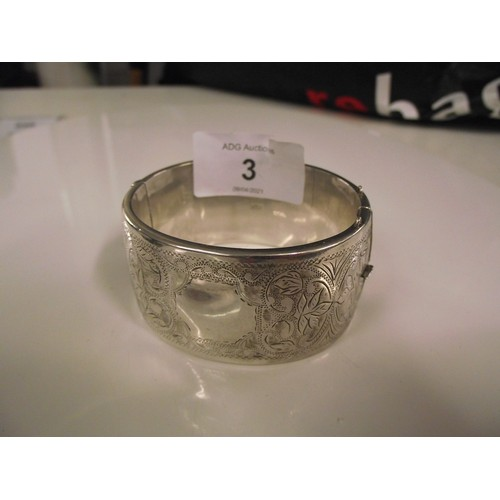 3 - Vintage silver bangle weight 47.1 g...