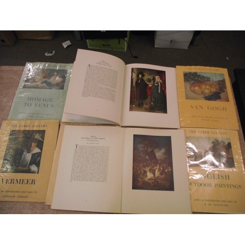 43 - 8 Vintage Large Faber Gallery plates books full of prominent works of Art in removable colour plates...