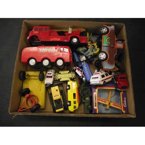 26 - Box of diecast and other vintage cars, fire engines ect....