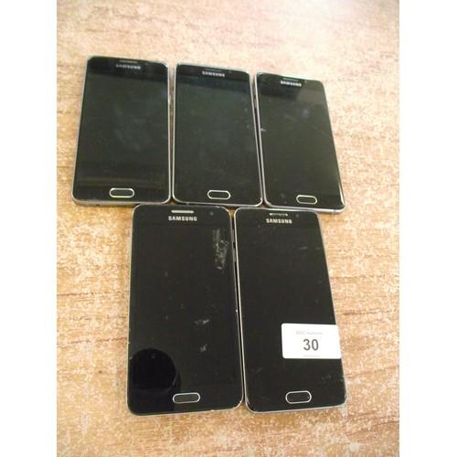 30 - 5 x samsung smart phones no numbers given....