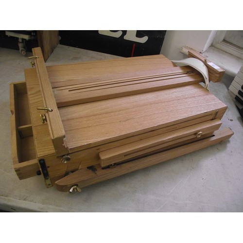 31 - Large artists easel + portable easel and storage box....