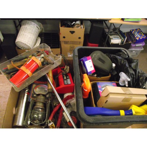 35 - 2 large boxes of good tools and hardware, lamp ect....