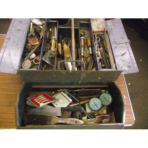 37 - 2 metal tool boxes inc tools ect....